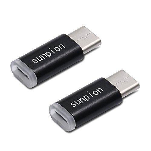 (Confezione da 2) Connettore USB C, Sunpion® USB-C a Micro USB connettore Converti Adattatore, per Huawei P9, HTC 10, LG G5, Nexus 5 X, Nexus 6P, OnePlus 3 e altri dispositivi supportati Type-C (Black)
