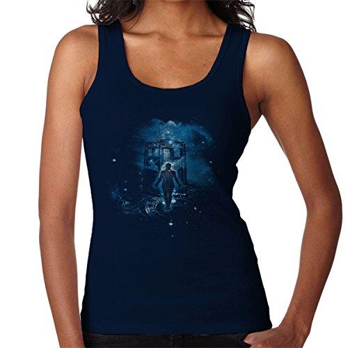 Time Traveller Tardis Doctor Who Women's Vest Navy blue