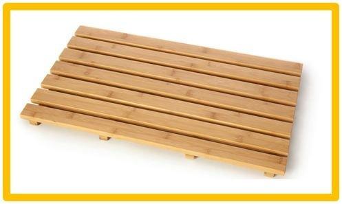 2 x Bamboo Wood Rectangular Duck Board Bath Mat Set Bathroom Shower by PRIME FURNISHING -