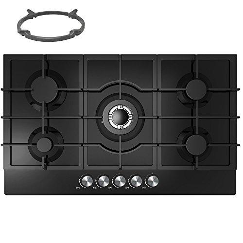 41c7yOnsGXL. SS500  - Cookology GGH905BK Kitchen Hob | 90cm Built-in 5 Burner Gas-on-Glass Hob in Black & Wok Stand