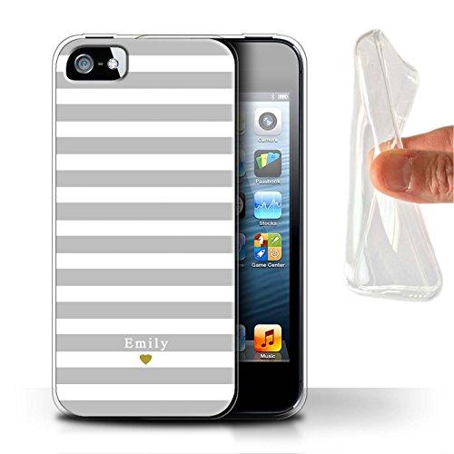 Personalisiert Individuell Streifen/Gestreift Gel/TPU Hülle für Apple iPhone SE / Silber/Grau Herz Design / Initiale/Name/Text Schutzhülle/Case/Etui (Se-streifen)