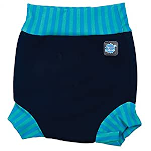 Splash About Kids Reusable Swim Happy Nappy - Navy/Blue Lagoon Stripe Rib, Small, 0-4 Months