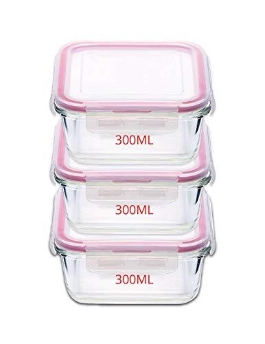 Kaiserhoff Flexi Kitchen Square Glass Storage Container Set, 300ml, Set of 3