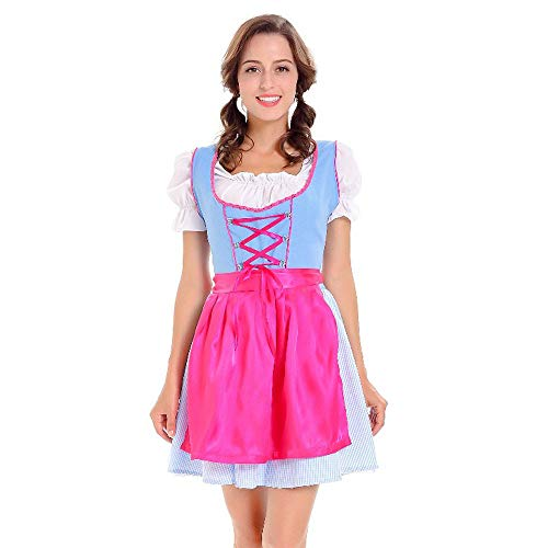 KIMODO Damen Oktoberfest Dirndl Kleid, Bayerische Bar Maid Oktoberfest Karneval Kostüm 3 teilig Set Party Cosplay Dirndl Traditionelles Minikleid