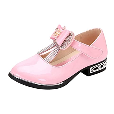 Zhhlinyuan Fashion Kids Bow Walking Princess Shoes Quality Girls Glossy Fabric Low Heel Tap Dance Shoes 4287#
