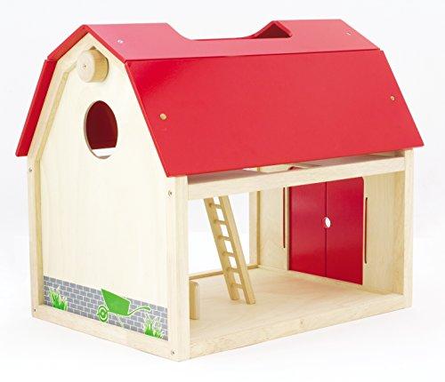 Natur belassenes Spielzeug Bauerhof von PINTOY aus massivem Holz - Größe 48 cm x 35 cm x 42 cm - Farbe: rot/natur - Spielzeug für Jung und Alt (XXL - Bauernhof -Scheune)