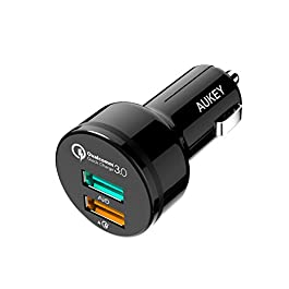 AUKEY Quick Charge 3.0 Caricatore per Auto con 2 Porte, 34,5W Alimentatore da Auto per Samsung Galaxy S8 / S8+, LG G5…