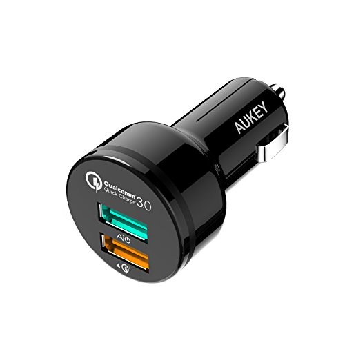 AUKEY Quick Charge 3.0 Cargador de Coche Doble Puerto 34,5W para Samsung Galaxy S8/Note 8/S7, LG G5/G6, HTC 10, Moto G4, iPhone 8/8 Plus/7 y Más