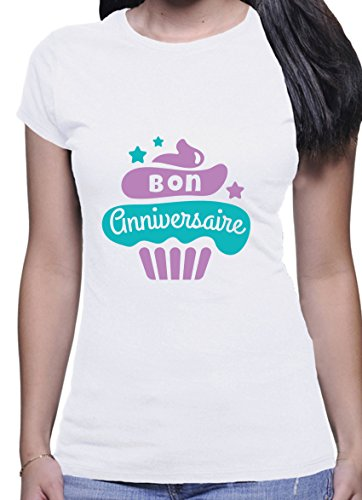 BlackMeow Bon Anniversaire Cupcake Design Damen Short Sleeve Casual White T-Shirt - Large