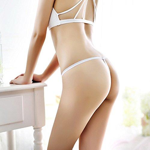 Jimmackey Donne Sexy Mutandine Pearl G-String Bassa Vita Tanga Lingerie Bianco