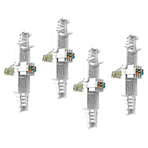Rj45 Netzwerkstecker Cat Werkzeugfrei Werkzeuglos 4 x Stecker ohne Werkzeug Montage Netzwerk vergoldete Kontakte Modular für Kabel Verlegekabel Cat5e Cat6 UTP Kabel Plug ARLI 4 Stück - Cat5e Rj-45-utp-werkzeug