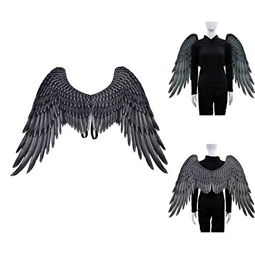 YYINHUI 3D Engelsflügel Halloween Cosplay-Kostüm,Halloween Gothic Fallen Engel Flügel,Karneval Thema Party Kostüm , Kind Unisex interessantadult Black