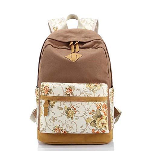 SPFBAG Rucksack weibliche Mittelschule Schultasche Mode Blumenrucksack Reisetasche Canvas Rucksack