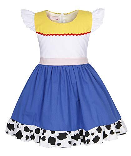Story Toy Kleinkind Kostüm - AmzBarley Mädchen Kleinkind Jessie Kostüm Verkleidungen Verkleidung Kindergeburtstag Urlaub Cosplay Halloween Outfit Kleidung Gr. 7-8 Jahre, Weiß/Blau