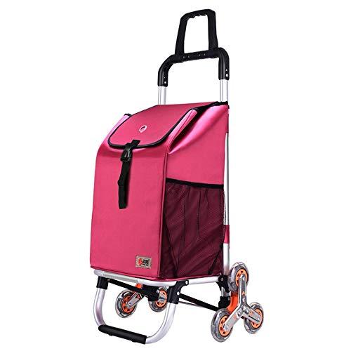 Faltbarer Einkaufswagen, der Nahrungsmittelaluminiumlegierungs-Laufkatze kauft, tragbare sechs Runden, die Treppe Klettern 96 GW (Farbe : Rosa)