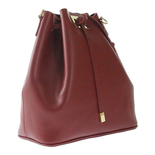 CTM borsa da spalla a sacca da donna in vera pelle made in italy nuova collezione Rosso