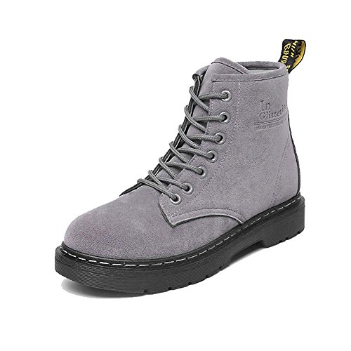 women ankle short martin boots leather suede flat heel winter warm casual shoelace cotton retro shoes . gray . 39