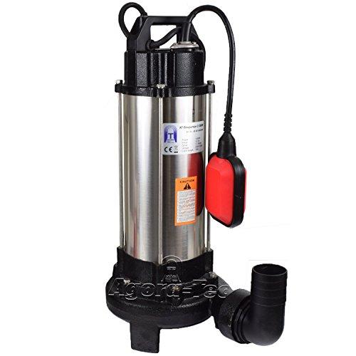 Agora-Tec® AT- Baupumpe-C 1300W (mit Schneidwerk) Tauchpumpe für Schmutzwasser, Abwasser, für Fäkalien und organische Feststoffe mit Schwimmerschalter und max: 1,05 bar und max: 17500l/h