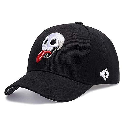 Mützen Schirmmütze Unisex Herren Damen Hip Bekleidung Canvas Pop Basecap Hut Totenkopf Schwarz Mode Baseball Cap Caps (Color : Black 2, Size : 21.26'-23.62')