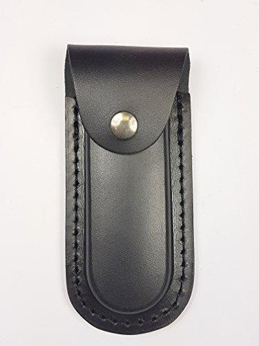 Etui aus hochwertigem Rindsleder (glattleder). Traditionelle Behandlung - Taschenmesser-Etui (Schwarz)