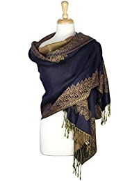 Paskmlna Border Pattern Double Layered Reversible Woven Pashmina Shawl Scarf Wrap Stole (#04)