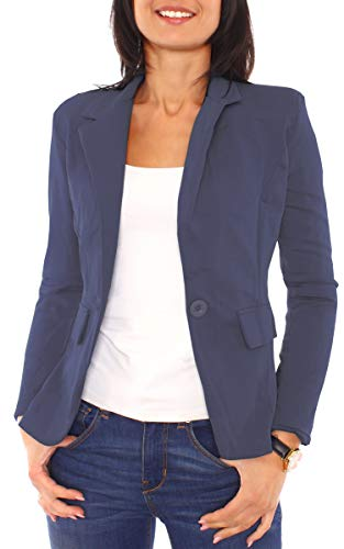 Easy Young Fashion Damen Jerseyblazer Gefüttert Dunkelblau XS - 34 (S)