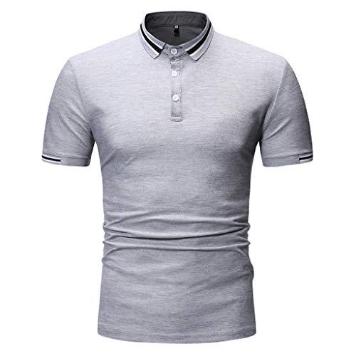 Ujunaor t shirt uomo polo a maniche corte slim fit con neck stampa due strisce a righe casual moda primavera-estate 2019 nuovo s/m/l/xl/xxl(large,grigio)