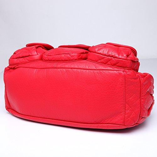 Angelkiss 2 Top Cerniere di chiusura tasche multiple Borse Lavato Borse Borse a tracolla in pelle W7127 Rosso
