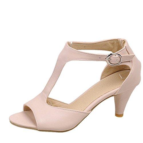 TAOFFEN Femmes Mode T-Strap Sandales Conique Talons Moyen Peep Toe Ete Chaussures De Boucle 517 Rose
