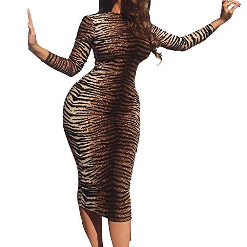 Oksea Damen Rundhals Tiger Kleid Frauen Arbeiten O Ansatz Tiger Druck Langes Hülsen knielanges Kleid um Damen Bodycon Kleid Print Stretch Langarm Bodycon Midikleid -