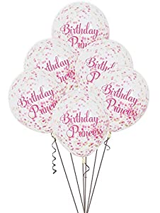 Unique Party- Paquete de 6 globos confetti de cumpleaños de princesa, Color rosa, 30 cm (58145)