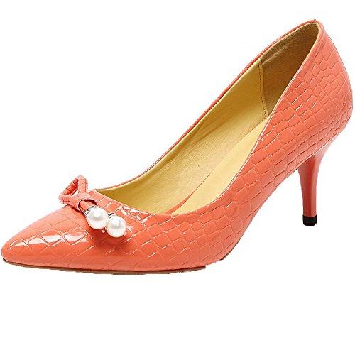 AllhqFashion Damen Hoher Absatz Rein Ziehen Auf Lackleder Spitz Zehe Pumps Schuhe Orange