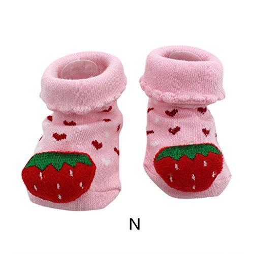 Vovotrade 15 verschiedene Karikatur Neugeborene Baby Jungen Anti Rutsch Socken Hefterzufuhr Schuh Aufladungen (N) (Baby-mädchen Neugeborenen-nike Schuhe)