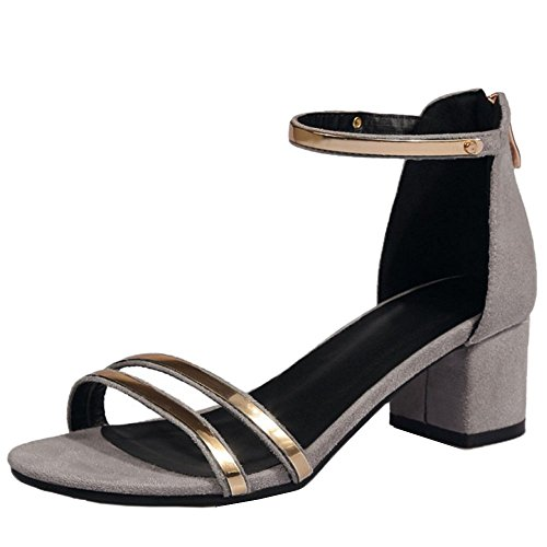 TAOFFEN Damen Fashion Blockabsatz Sandalen Lady Office Dress Shoes Grau