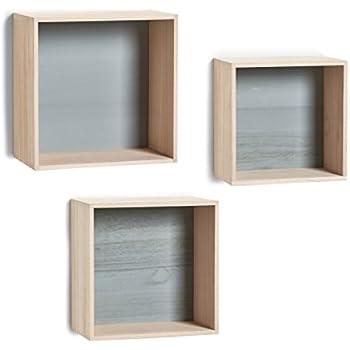 Wandregale Aus Holz zeller 15144 wand regal set cubes 3 teilig holz wandregal