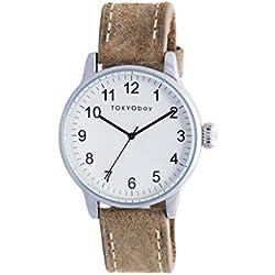 TokyoBay t626-br Herren Edelstahl braun Leder Band Weiß Zifferblatt Smart Watch
