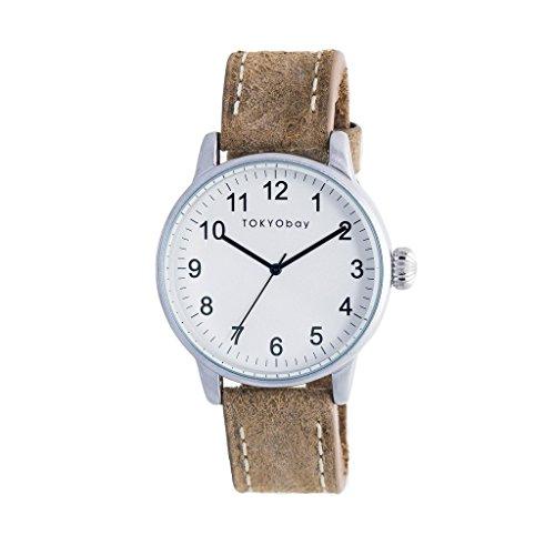 tokyobay-t626-br-hombres-del-acero-inoxidable-banda-de-cuero-marron-esfera-blanca-reloj-inteligente