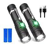 iToncs LED Taschenlampe USB Wiederaufladbare, iToncs Super hell Wasserdicht Einstellbarer Fokus Handlampe mit 4 Modi für Innen Outdoor Camping Wandern (Inklusive 18650 Akku)