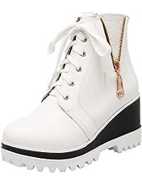 YE Damen Keilabsatz Stiefeletten High Heels mit Plateau Ankle Boots  Schnürung Wedges Stiefel Kurzschaft Bequeme Fashion 5e367d00b4