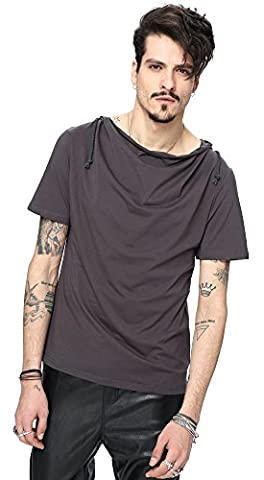 Whatlees Mens Urban Basic Short Sleeve Muscle Fit Hoodie with Soft jersey