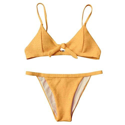 KanLin Damen Bikini Retro Push Up Schalen Binden Bügellos Bikini Split Badeanzug Swimwear (Medium, Gelb)