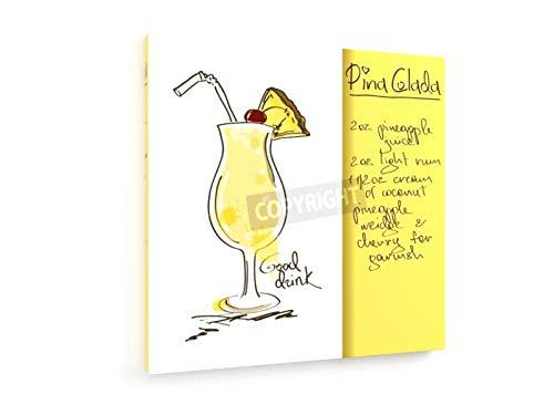 Anna Kniazeva - Pina Colada Cocktail Rezept - 60x60 cm - Textil-Leinwandbild auf Keilrahmen - Wand-Bild - Kunst, Gemälde, Foto, Bild auf Leinwand - Kochen & Essen