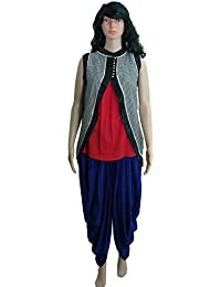 Crop Top, Jacket Shrug And Dhoti Pant Ethnic Suits Set For Women – Sleeveless, Round Neck Majestic Red Top, Bolero...