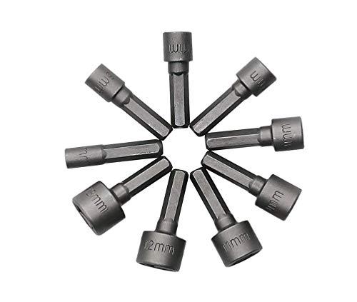 HYCy® 9pcs Tuerca de alimentación Destornillador Destornillador Llave Broca Tornillo Socket Combinación 1/4'Hexagonal Conector Métrico (5-13mm)