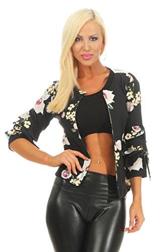 Fashion4Young 10063 Damen Jacke Kurzjacke Jäckchen kurze Jacke Blazer Blumen Trompetenärmel (schwarz, 34-36)