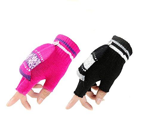 1Paar (2) Winter Hälfte dicker & Full Finger Handschuhe USB Beheizte Plüsch Warm kältebeständig Knit Handschuhe Fäustlinge für Damen Herren Mädchen Jungen, schwarz