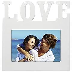 """Idea Regalo - Hama, Cornice portafoto """"L'Amour"""" per Foto della Dimensione di 10 cmx 15cm (Cornice in Legno con Scritta """"Love"""", da appoggiare e da Appendere, in Vero Vetro), Bianca"""