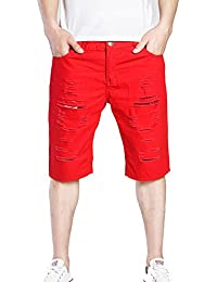 Mengmiao Short Light Twill Pantaloni Corti Uomo Spiaggia Pantaloni Corti  Bermuda Pantaloncini Sguardo Distrutto fa77e9236a24