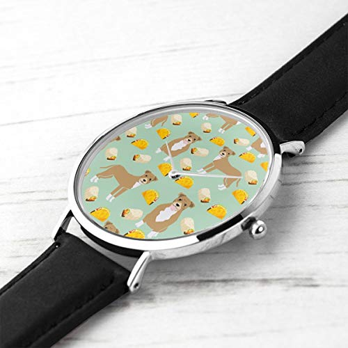 Men's Ultra Thin Fashion Minimalist Wrist Watches Pitbull Taco Fawn Pitbull Dog Taco Taco and Burritos Mint Waterproof Quartz Casual Watch Mens -