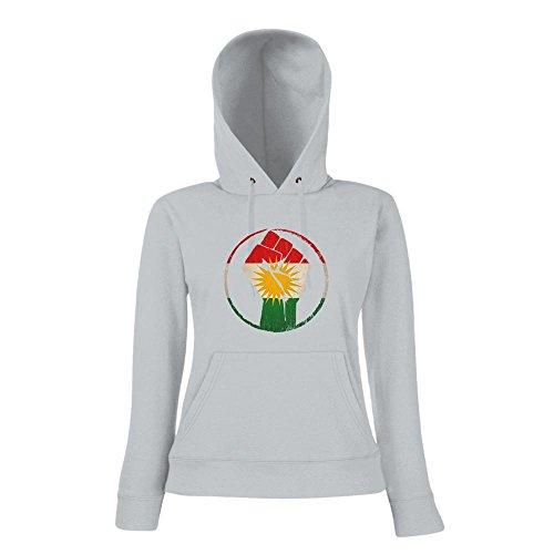Kurden #1 Premium-DamenHoodie | Damen | Flagge | Kurdistan | Türkei | Syrien | Iran | Irak | Damenpullover, Farbe:Graumeliert;Größe:XXL